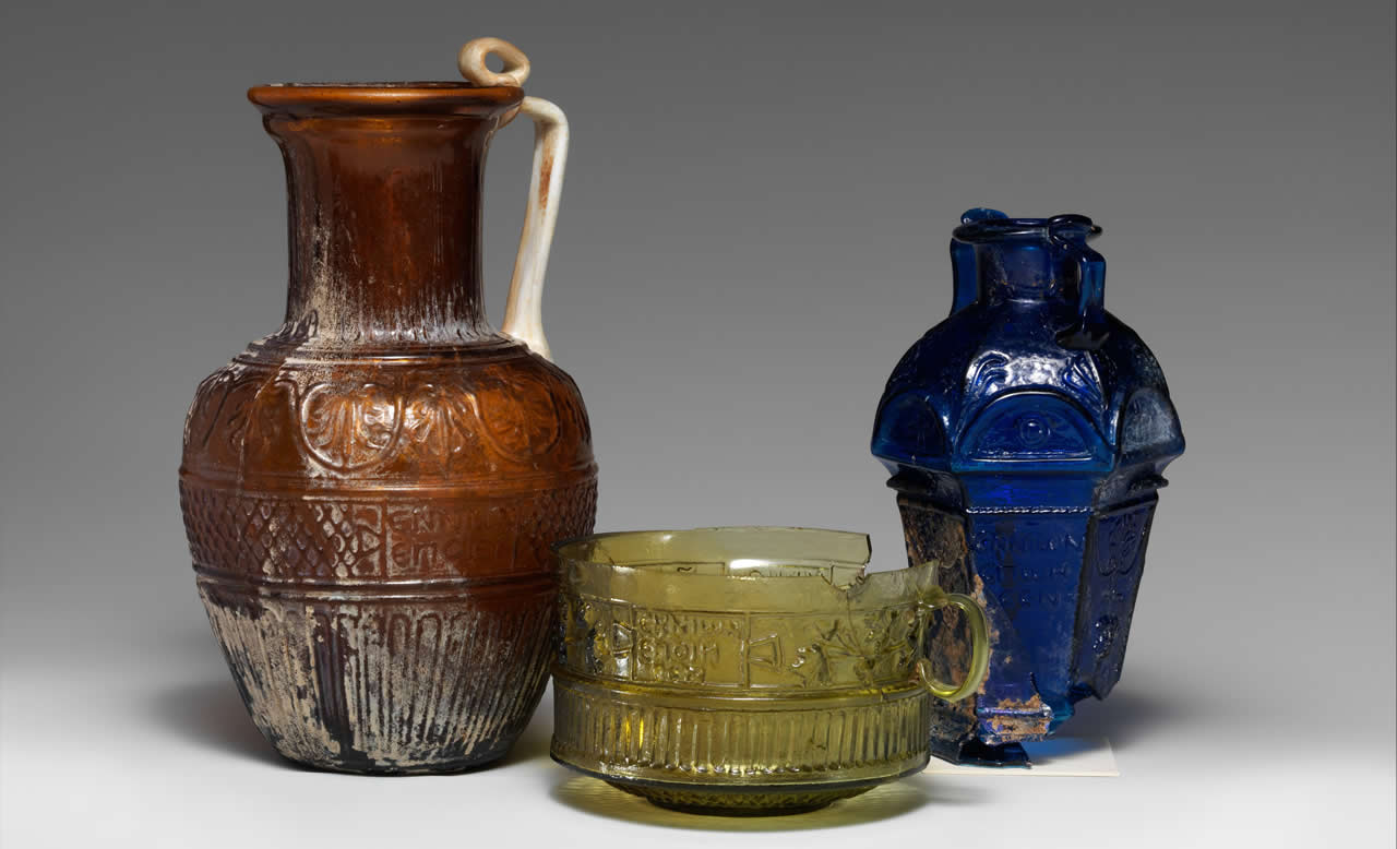 Glass jugs and a bowl by Ennion