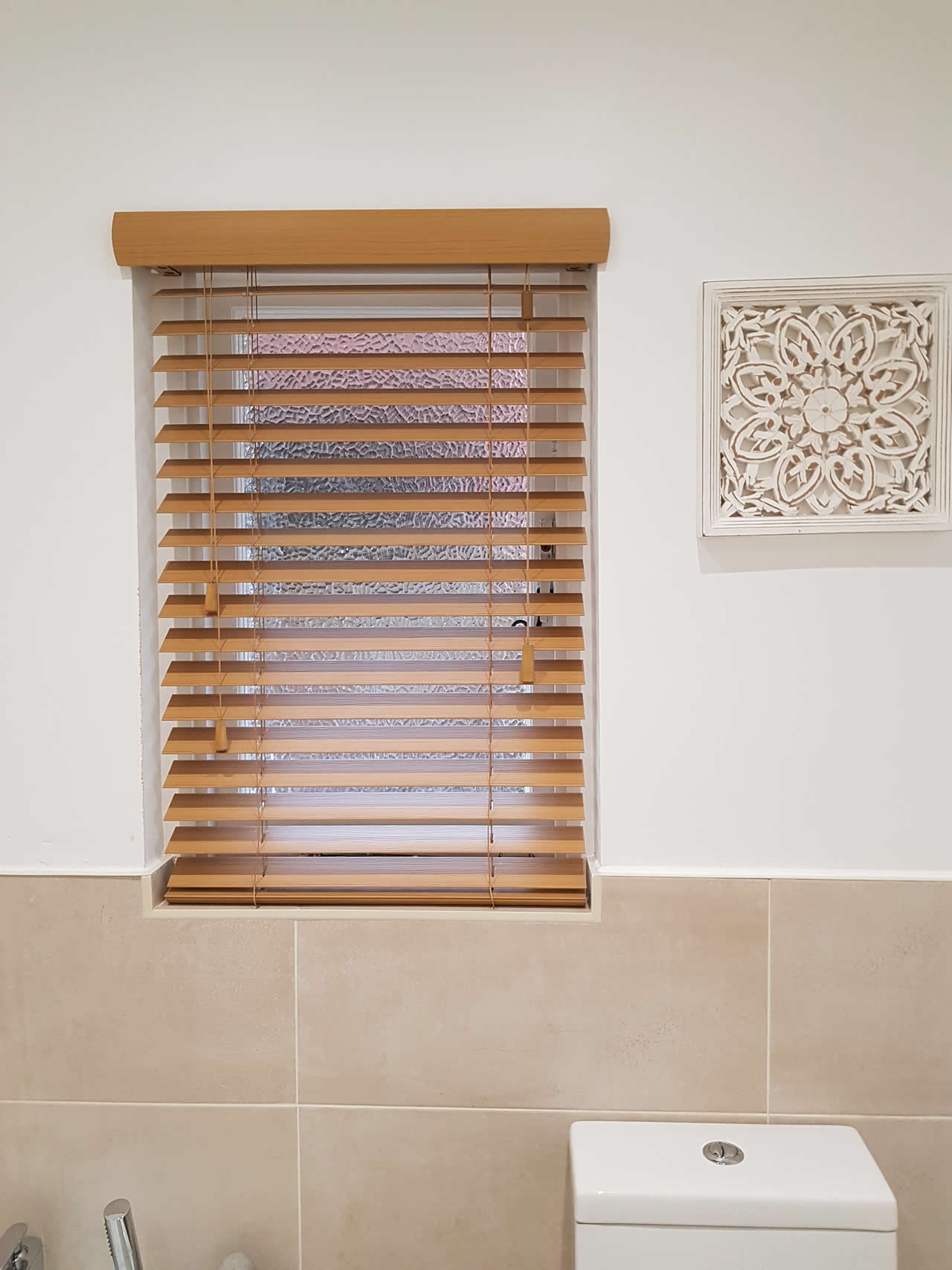 50mm Faux Wood Venetian blind in shade Dessert Oak
