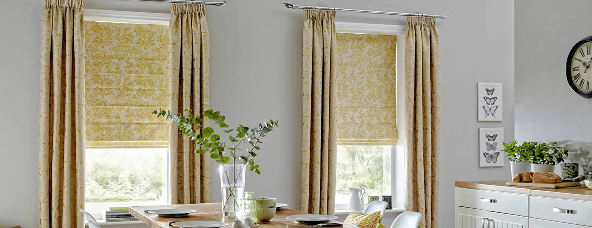 Soft and sumptuous Roman blinds